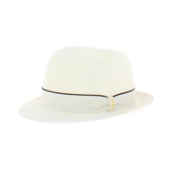 Chapeau Trilby feutre poils Borsalino blanc