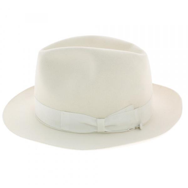chapeau feutre poil Borsalino blanc - chapellerie traclet