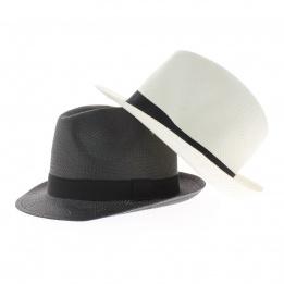chapeau paille - chapeau raguse  noir et blanc