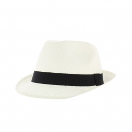 white hat trilby straw child
