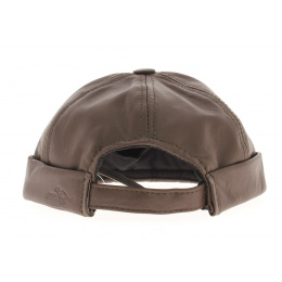 Bonnet biker cuir marron