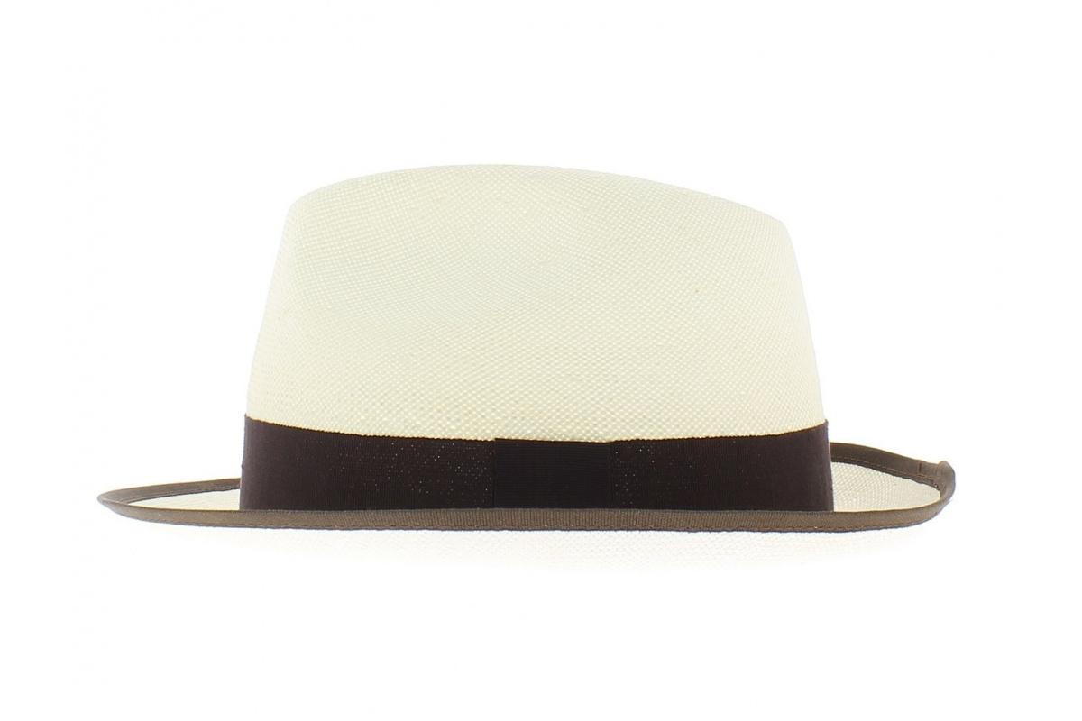 chapeau paille blanc ruban marron chapellerie traclet. Black Bedroom Furniture Sets. Home Design Ideas