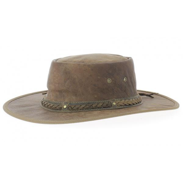 Chapeau cuir kangourou Squashy taupe