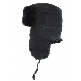 Leather & Black Sheepskin Chapka - Traclet