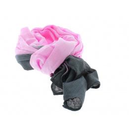 Chèche rose - gris