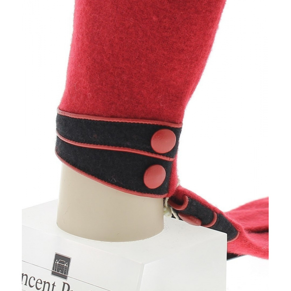 Womens Wool & Nylon Gloves Red - Vincent Pradier