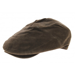 Casquette cuir plate Ralph marron