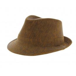 Chapeau trilby cuir camel