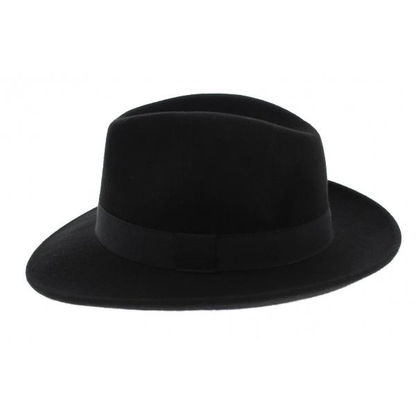 Fedora Felt Hat Black Wool Waterproof Black Hat - Traclet