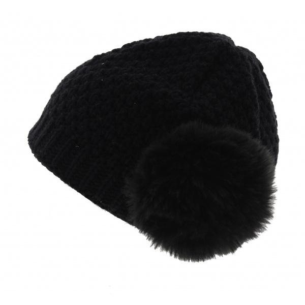 bonnet femme noir le drapo pompon noir. Black Bedroom Furniture Sets. Home Design Ideas