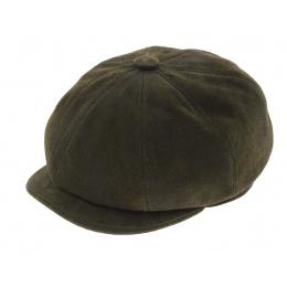 Newsboy olive leather hatteras cap - Aussie Apparel