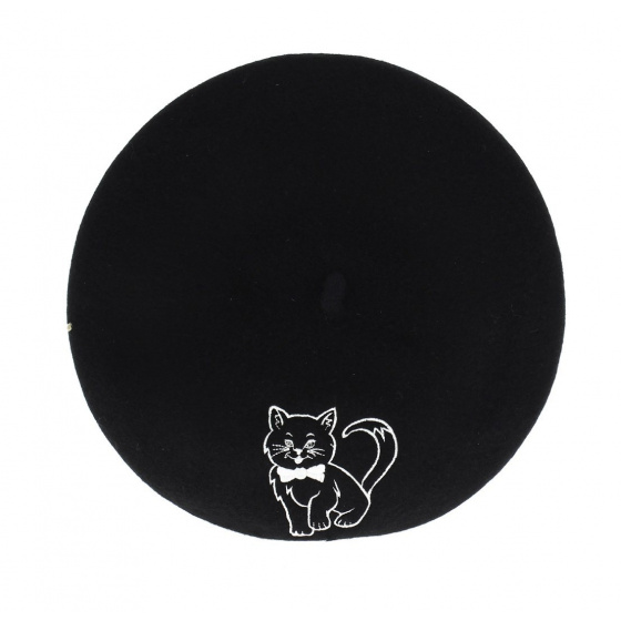 Embroidery beret - Chat fantaisie