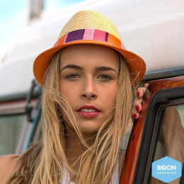Two-tone Jelly Bean Natural Fiber Trilby Hat - Rigon Headwear