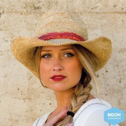 Chapeau Cowboy Castaway Raffia Naturel/Corail - Rigon Headwear