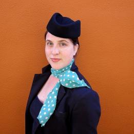 Chapeau Calot Hôtesse de l'Air bleu marine