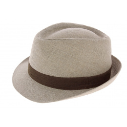 Trilby Pergole Linen Beige Trilby Hat - Traclet