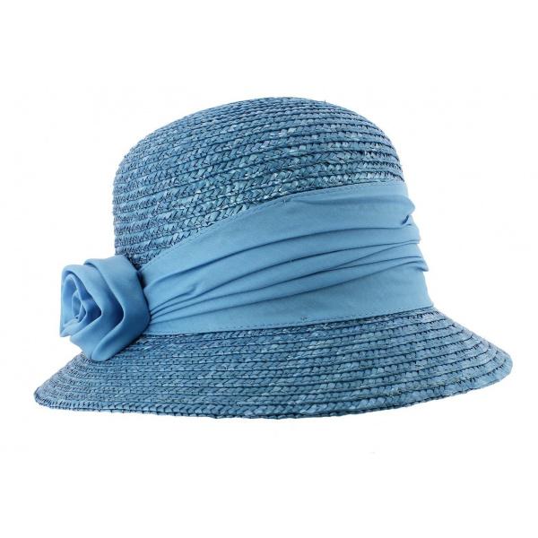 Chapeau cloche paille azure