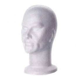 Male Polystyrene Head WHITE