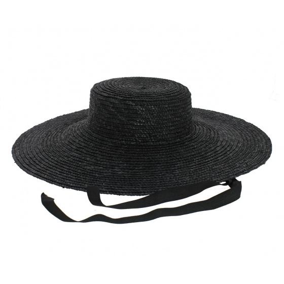 Black straw floppy hat - Saint-Tropez