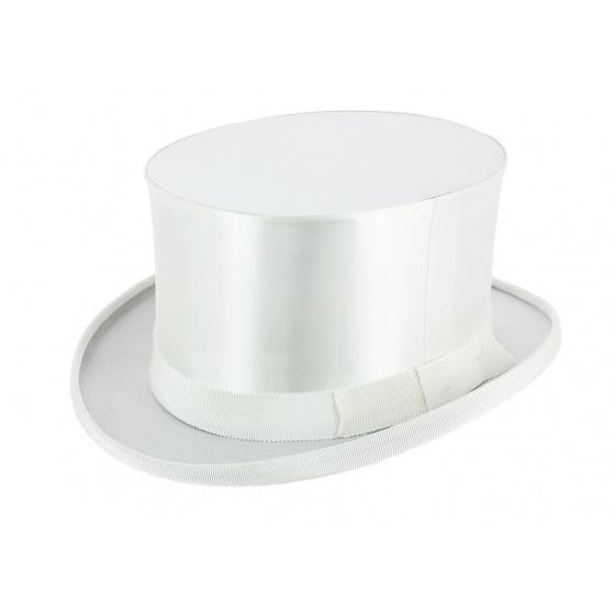 Chapeau Claque Blanc Soie Synthétique - Wegener