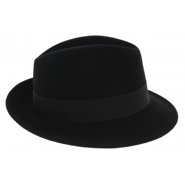 Chapeau Trilby Costello Feutre Laine Noir - Traclet