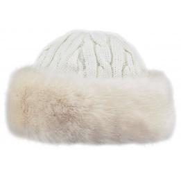 Cable Faux Faux Fur Cap - White - Barts