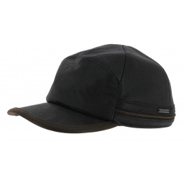 Byers Stetson earflaps cap - black leather