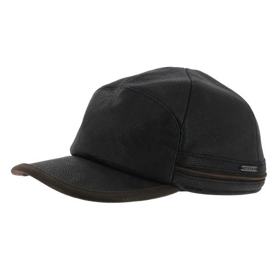Byers Stetson earflaps cap - black leather