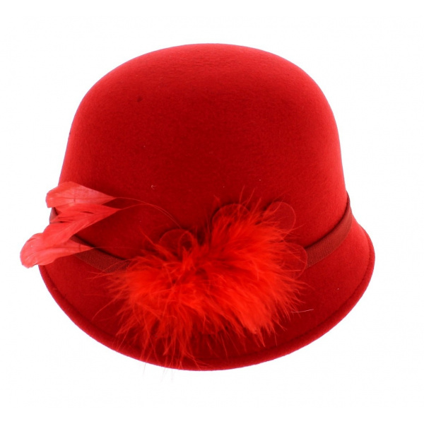 hat cloche Red 30s