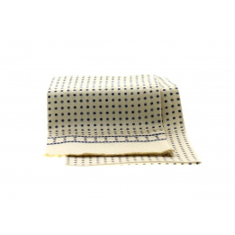 Foulard Blanc crème motifs bleus - Soie