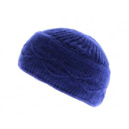 Beret Bonnet Funny angora Bleu