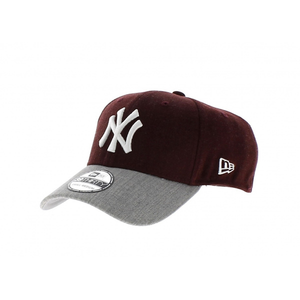 f429bc3e57a3 Casquette Baseball NY Yankees-New Era MLB Heather Visor-Bordeaux-Gris ...
