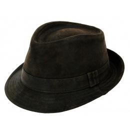 Chapeau trilby cuir marron
