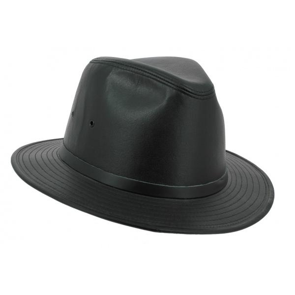 Chapeau Traveller Black Smooth Cuir Noir - Henschel