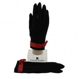 Women's Black Leather & Wool Gloves - Vincent Pradier