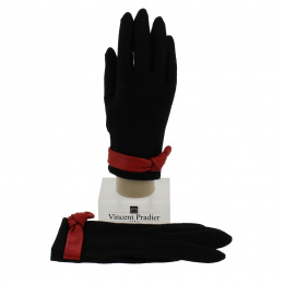 Wool & Black Leather Women's Gloves - Vincent Pradier