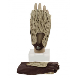 Brown Leather &amp Cotton Driving Mitt - Glove Story