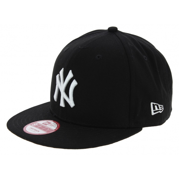 casquette snapback yankees of ny coton noir blanc new era. Black Bedroom Furniture Sets. Home Design Ideas