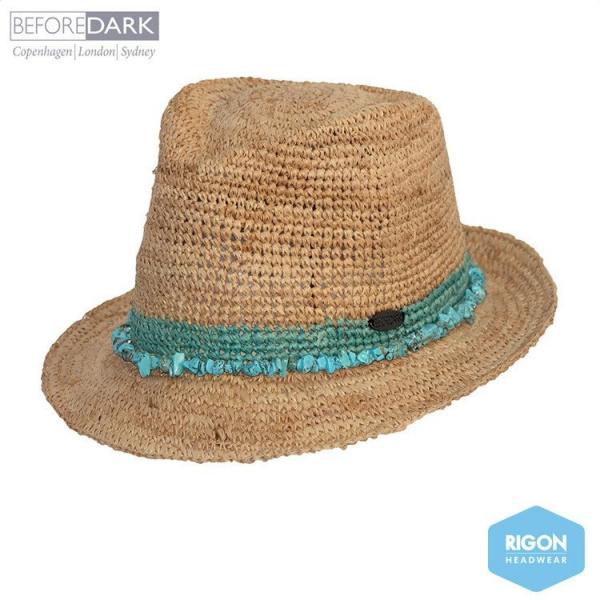 Chapeau Trilby Paille Raffia Naturel  turquoise - Rigon Headwear