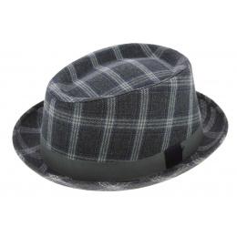 chapeau Trilby / PorkPie à carreaux - Traclet