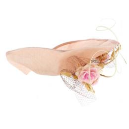 Chapeau Haute Couture Millinery Chanvre Pêche - Eugenia Jiménez