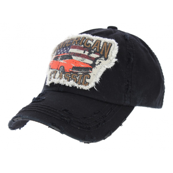 Classic America Strapback Cap Black Cotton - Kbthos
