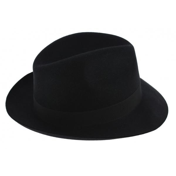 Chapeau Fédora Winston Feutre Poils Noir - Traclet