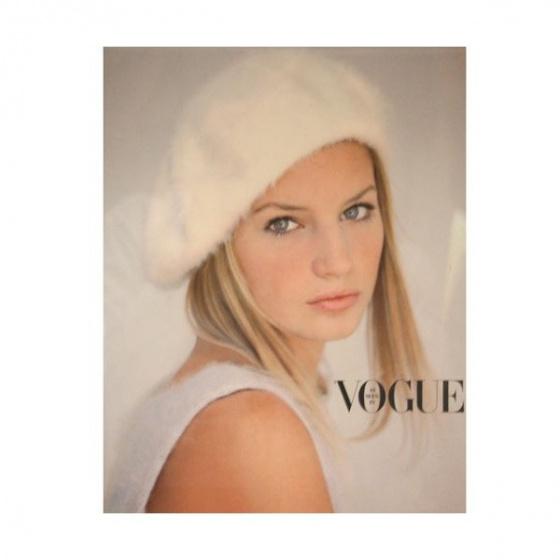 Natural white angora beret