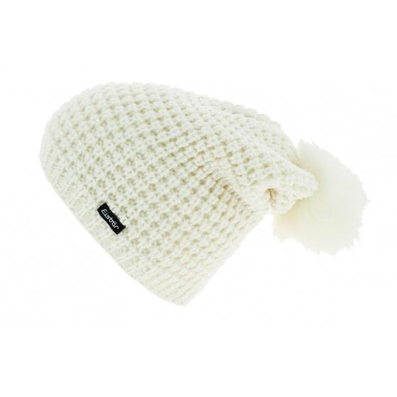 Bonnet Long Pompon Bailey Laine Blanc - Eisbär