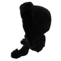 Norell Fleece & Faux Fur Hoodie Black - Traclet