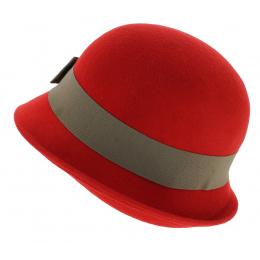 Chapeau Cloche Angiolo Feutre Laine Rouge - Traclet
