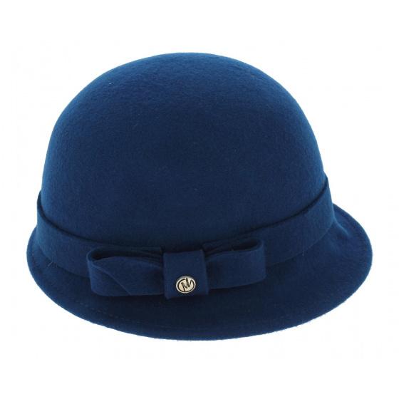 Chapeau Cloche Ambra Feutre Laine Bleu - Traclet