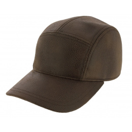 Baseball Cap Rupper Imitation Brown Aged Leather - Crambes