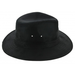 Traveller Creek Leather Style Hat Black - Aussie Apparel